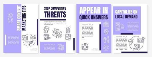 Plantilla de folleto de consejos de marketing de contenido inteligente vector