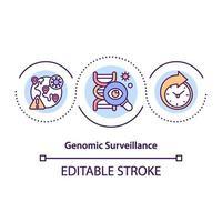 icono del concepto de vigilancia genómica vector