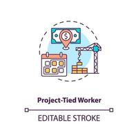 Project tied worker concept icon vector