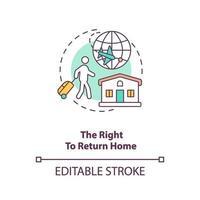 el derecho a regresar a casa concepto icono vector