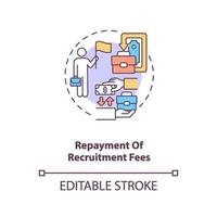 Repayment of recruitment fees concept icon vector