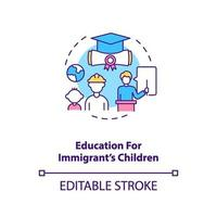 Education for immigrant's children concept icon vector