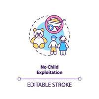 ningún icono del concepto de explotación infantil vector
