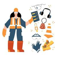 Industrial female worker inspector with safety equipment clipart vector