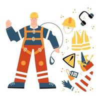 Industrial Worker in safety harness with safety equipment clipart vector
