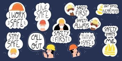Safety first Industrial hand drawn lettering set vector