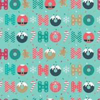 Christmas seamless pattern with Ho Ho Ho and snowflakes on blue background. Vector illustration.