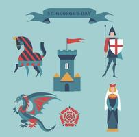 St. George's Day set with Castle, knight, dragon, horse, princess vector