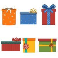 colección de regalos decorados con una cinta. vector