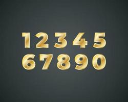 Golden shiny metal numbers set, gold font signs isolated on black background. Luxury fashion typography vector