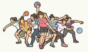 grupo de bolos, jugadores deportivos, mujeres, acción vector