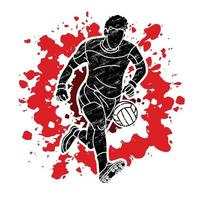 Gaelic Football Male Player Kicking Ball vector