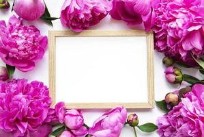Marco de madera rodeado de hermosas peonías rosas sobre un fondo blanco. foto