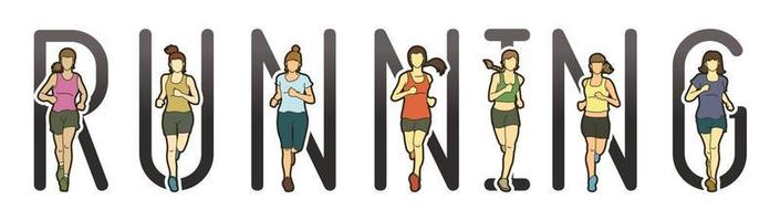 corredor de maratón de mujeres con texto corriendo vector