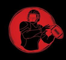 American Football Men Player Action Silhouette vector