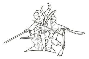 grupo de acción de artes marciales de luchador de kung fu vector