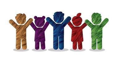 niños icono tomados de la mano juntos vector