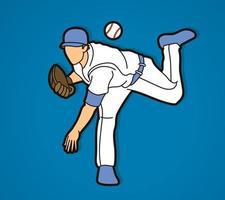 Baseball Player Pitching Ball Action vector