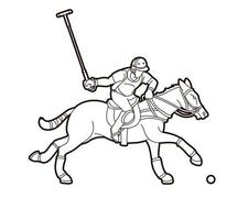 Polo Horse Sport Outline vector