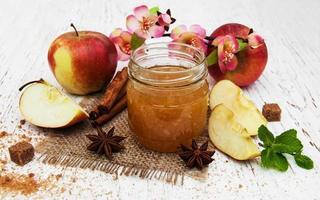 Apple jam on a table photo