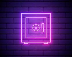 Glowing neon safe line icon on brick wall background vector