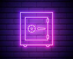Glowing neon line Safe icon isolated on brick wall background vector