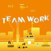 teamwork building construction concept vector