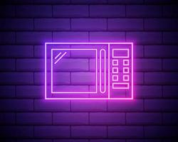 Glowing neon Microwave oven icon isolated on brick wall background vector