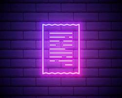 Glowing neon line Paper check and financial check icon isolated on brick wall background vector