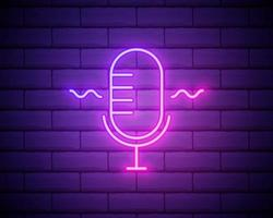 Podcast neon sign, bright signboard, light banner. Podcast logo neon, emblem and label vector