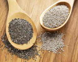 Chia seeds in the spoons