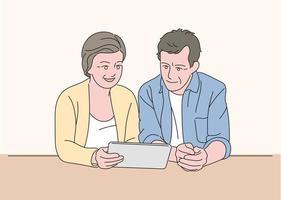 una pareja mayor está mirando una tableta juntos. ilustraciones de diseño de vectores de estilo dibujado a mano.