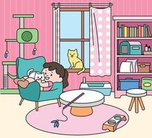 A girl is sitting with a cat in her cute room.hand drawn style vector design illustrations.