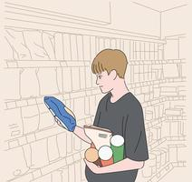 A man is choosing sweets at the supermarket. hand drawn style vector design illustrations.