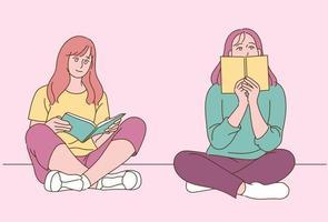 dos mujeres están sentadas en el suelo y leen un libro. ilustraciones de diseño de vectores de estilo dibujado a mano.