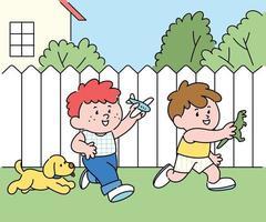 dos niños juegan juntos en el patio. ilustraciones de diseño de vectores de estilo dibujado a mano.