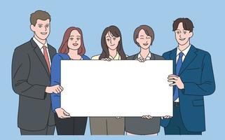 Business people in suits are holding together a large white board. hand drawn style vector design illustrations.