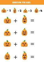 Addition for kids with spooky Halloween pumpkins. vector