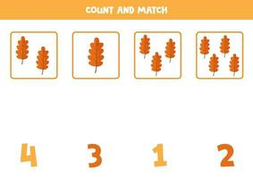 Counting cute cartoon autumn leaves. Math game for kids. vector