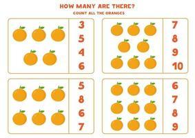 juego de conteo con naranjas de dibujos animados. hoja de trabajo de matemáticas. vector