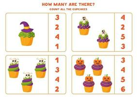 Math game with spooky cartoon Halloween muffins. vector