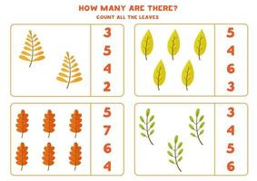 Counting game for kids with autumn leaves. vector