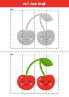 Cut and glue game with cute kawaii cherry. vector