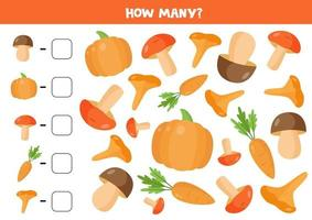 Counting mushrooms and vegetables. Math game for children. vector