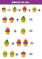 Addition with funny Halloween cupcakes. Math games. vector