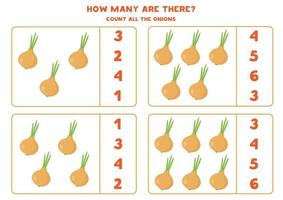 Counting game with cartoon onions. Math worksheet. vector