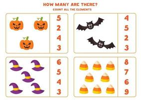 Math game with spooky cartoon Halloween elements. vector