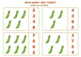 Counting game with cartoon green peas. Math worksheet. vector