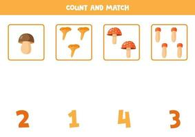 Counting game with cartoon forest mushrooms. Math worksheet vector