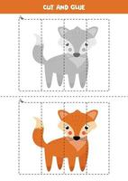 Cut and glue game with cute fox. vector